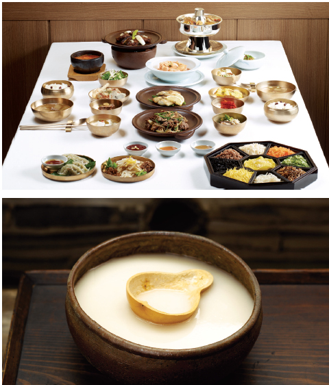 <i>Hanjeongsik</i> (Korean Set Menu). This traditional Korean set meal typically consisted of rice and soup and an assortment of side dishes. The meal is often divided into subgroups according to the number of side dishes, i.e. 3, 5, 7, 9 and 12.
